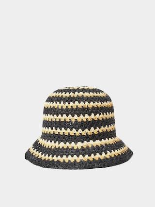Brixton Essex Raffia Bucket Hat Wmn Kalap (black/white/sunset)