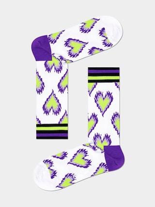 Happy Socks Burning Heart Thin Zokni (white)