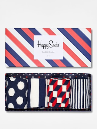 Happy Socks Giftbox 4pk Zokni (blue/red/white)